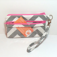 Id Wallet Wristlet - Clear Id Wallet - Credit Card Wallet - Business Card Holder - Pink Id Wallet - School Id Bag - Id Pocket Clutch