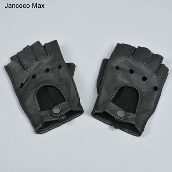 Jancoco Max 2018 New Arrival Men's Genuine Goat Skin Leather Gloves Top Quality Soft Real Leather Driving Mittens S7219