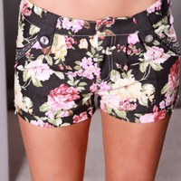 BLACK FLORAL LOW WAIST FAUX FRONT POCKETS RHINESTONE DECOR SEXY SHORTS @ Amiclubwear Shorts,Women's Shorts,Short Shorts,Drawstring Shorts,Ladies Shorts,Summer Shorts,Petite Shorts,Shorts Clothing,Women's Denim Shorts,Black Shorts,Pants Shorts,Sport Shorts