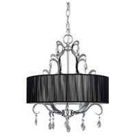 4-Light Crystal Chandelier with Black Drum Shade