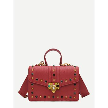 Red Studded Crossbody Bag