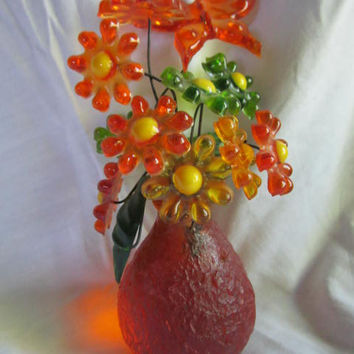 Retro 1960S Lucite Resin Orange Yellow Green Flowers Butterfly Bouquet in Planter Bright Cheerful Sculpture
