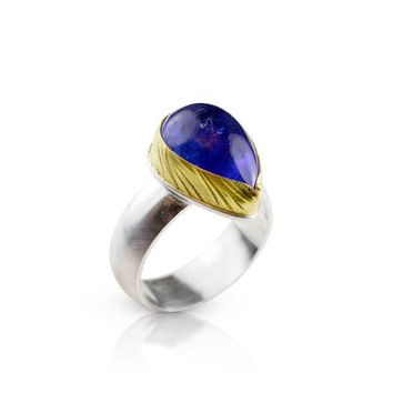 Tanzanite Wheat, Gold and Silver One of a Kind Size 8 Ring