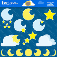 Moon and Stars Clipart Set. Night Sky Clip Art. Moons Digital Clipart. Stars Clipart. Night Clipart. Night Sky Clip Art. Stars Clip Art.