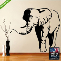 Wall Decal Mural Sticker Beautyfull Cute Detailed Elephant Animals Bedroom (z115)