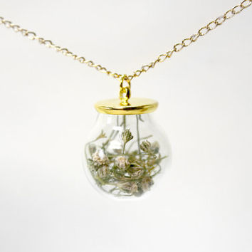 Glass Bottle Necklace, Natural Dried Flower, Dried Flower, Gold Chain, Flore Necklace, Green Glass Necklace