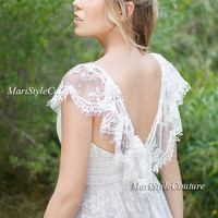 Lace Wedding dress in Vintage Style ,Open V-back wedding gown, Boho wedding, Garden Wedding, Vintage wedding dress