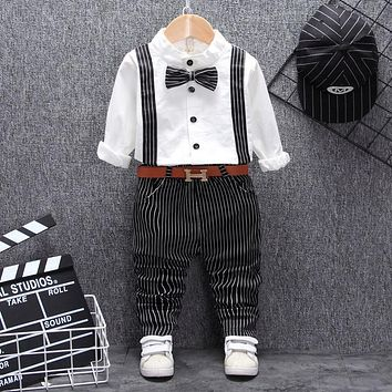 Baby Boy Suit Set Long Sleeve Top Stripe Pants