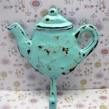 Teapot Hook Light Blue Chippy Cast Iron Worn and Weathered Tea Pot Kettle Wall Coat Towel Leash Keys Cottage Shabby Style Chic Kitchen Decor