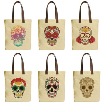Set of Sugar Skull Beige Print Canvas Tote Bags Leather Handles WAS_30
