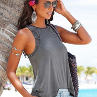Sleeveless Lace Panel Top