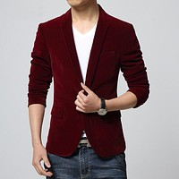 Men Single Button Notched Collar Men Blazers and Jackets