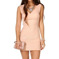 Peach Textured Short Dress