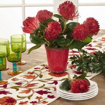 Embroidered Flowering Vine Table Runner | 72-Inch