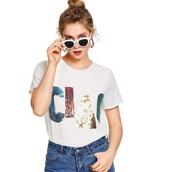 CIAO  Round Neck Short Sleeve Casual T-Shirt