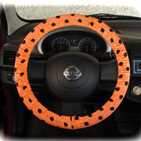 by (CoverWheel) Steering wheel cover for wheel car accessories peach polka dot wheel cover