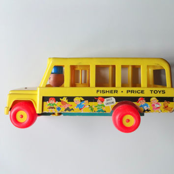 Vintage Fisher Price School Bus Toy 1965