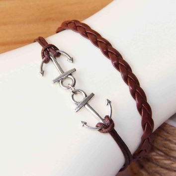 Double Anchor bracelet anklet silvery alloy cotton wax cord PU pigtail summer trending simple fashion friendship graduation gifts