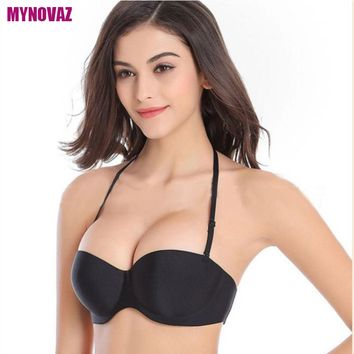 New Arrival Lady Wedding Multiway Underwear Push Up Bra Invisible Transparnt Strapless Halter Neck Clear Back Skin color Bra