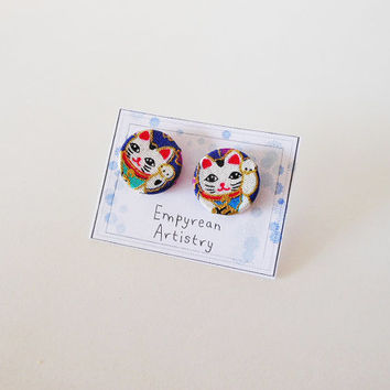 Lucky Cat Stud Earrings - Handmade Wood and Fabric Earrings - Japanese Inspired Jewelry - Japanese Fabric - Asian Jewelry - Asian Earrings