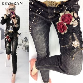 Trendy 2018 Fashion Boyfriend Women Flowers Embroidery Tracksuit 2 Piece Sets Beaded Sequined Elastic Casual Jackets + Jeans Denim Suit AT_94_13