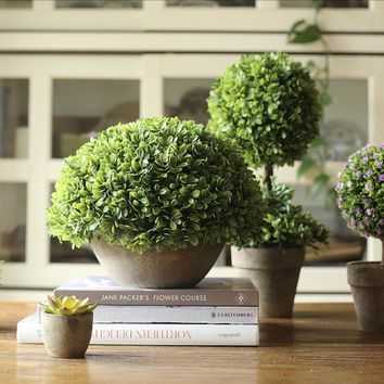 Rustic Potted Boxwood Faux Topiary