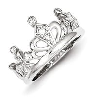Sterling Silver CZ Crown Ring