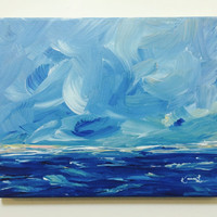 Minimalist Painting Original Seascape Acrylic Abstract Landscape 8x10 Blue Yellow Coastal Beach Painting Stretched Canvas