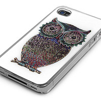 Clear Colorful Owl Design Snap-On Case Skin Cover for iPhone 4/4s