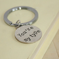 Personalised Typewriter Font Silver Key Ring
