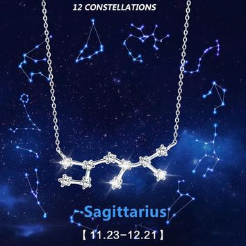 Hot Fashion 12 Zodiac Signs Constellations 925 Sterlings Sliver Necklaces Women Jewelry Horoscope Gift Accessory Charm Dropship
