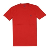 Polo Ralph Lauren Men Custom Fit Pony Logo T-shirt (L, Red)