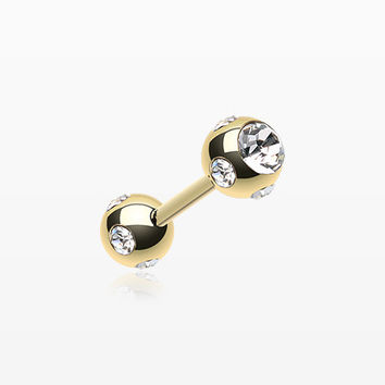 Gold Plated Double Aurora Gem Ball Steel Cartilage Tragus Barbell