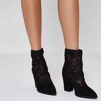 Black lace insert block heel pointed boots - Boots - Shoes & Boots - women