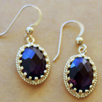 Purple and Gold Dangle Earrings - Aqua Crystal Earrings - Simple Earrings