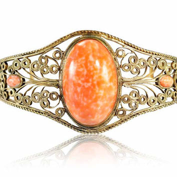 2 DAYS ONLY Coral Glass GF Gold Bangle Bracelet Edwardian Jewelry Wide Gold Filigree Antique Jewelry