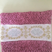 Vintage  Curly Satin  Pillow case whith crochet lace