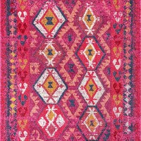 9355 Pink Tribal Oriental Area Rugs