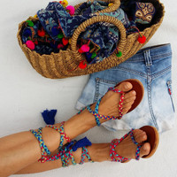 Lace up sandals, gladiator sandals, bohochic sandals, flat sandals, leather sandals