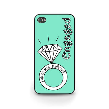 Engaged Monogrammed iPhone Case, iPhone 5, iPhone 5S, Engagement Gift iPhone Case, Personalized iPhone Cover 0033
