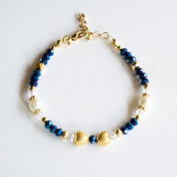 Navy Blue Heart Gold Plated Crystal Bracelet, Seed Bead Bracelet,Handmade Bracelet,Crystal jewelry,Gold Plated Bracelet