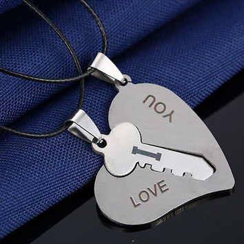 1 Pair I Love You Lock Key Heart Stainless Steel Pendant for Couple Necklace HU