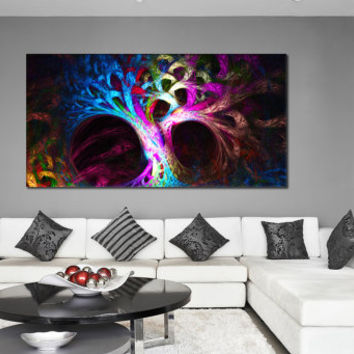 Abstract Tree Canvas Poster - Psychedelic Tree Printable Wall Decor, Mysterious Abstraction Giclee Print for Home or Office Decoration