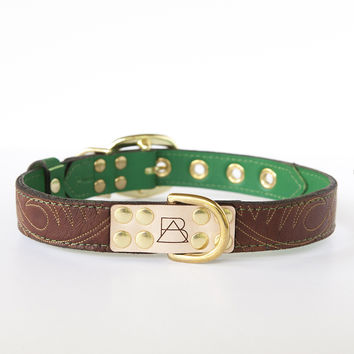 Emerald Green Dog Collar with Brown Leather + Tan Stitching