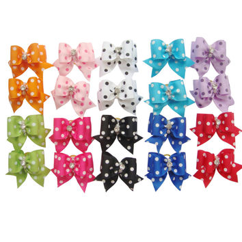 20pcs Multi Colors Cat Dog Hair Bow Ribbon Puppy Kitten Headdress Flower Bowtie Pets Grooming Supplies