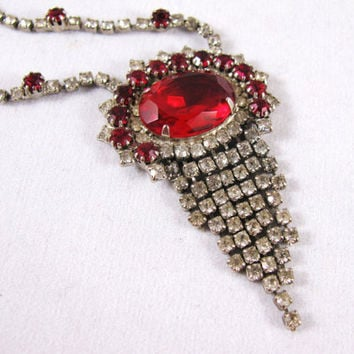 Vintage Rhinestone Necklace Red Rhinestones by colorsoulartistry