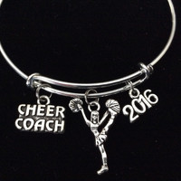 2016 Cheer Coach Cheerleader Expandable Silver Charm Bracelet Adjustable Bangle Gift