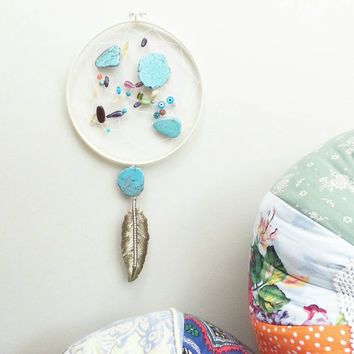 Dream Catcher- DreamCatcher- Turquoise- Wall Decor- Wall Accent- Bohemian decor- Boho Decor- Native- Home Decor- Hippie- Gypsy- Evil Eye