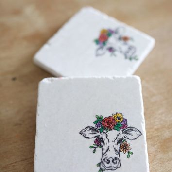 Floral Cow Head Marble Coasters