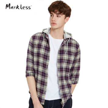 New Fashion Spring Casual Men's Cotton Shirts Long-sleeve Hooded Can Be Remove Plaid Pattern Men Shirt